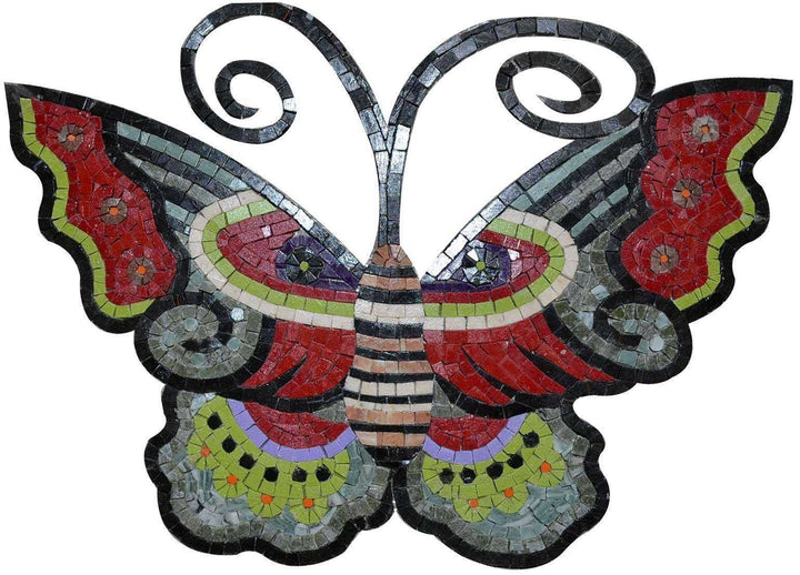 Mosaic Tile Art - Colored Butterfly