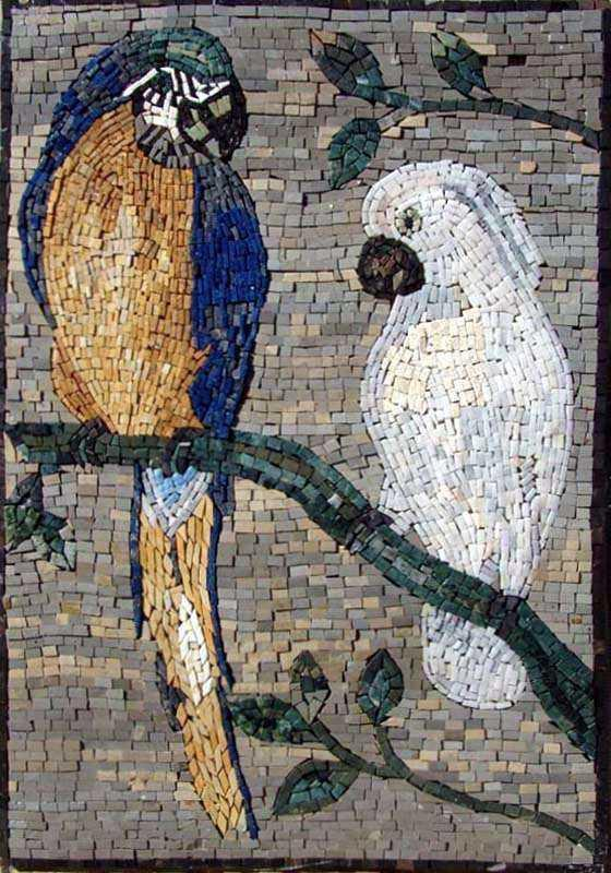 Mosaic Artwork - Macaw and White Parrot
