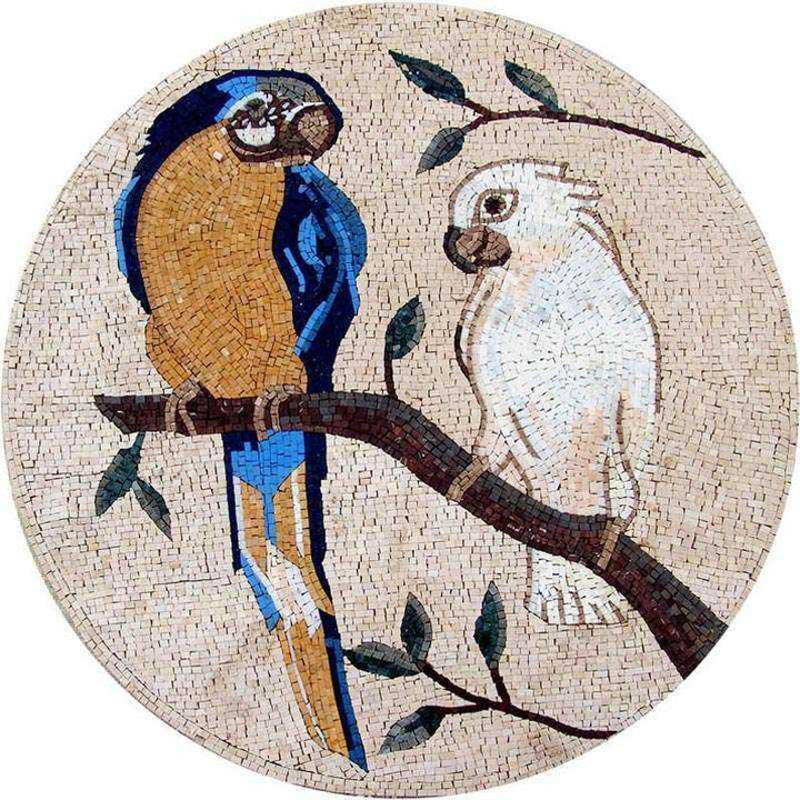 Mosaic Art Medallion - Macaw and White Parrot