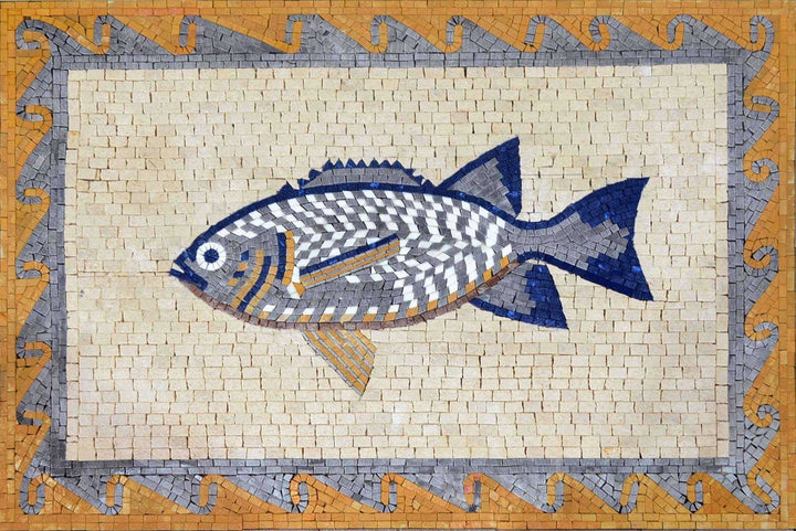 Mosaic Nautical Fish Art Tile