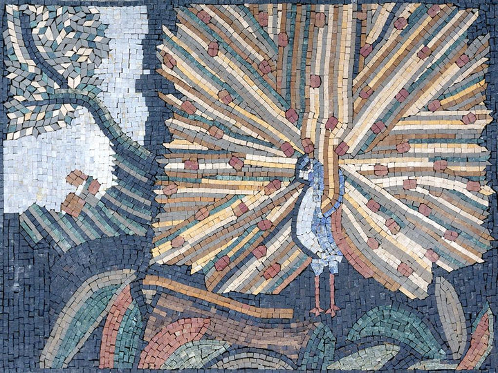 Mosaic Artwork - Garden of Eden Peafowls