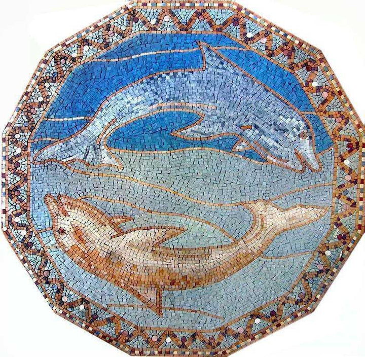 Blue and Golden Fish Mosaic
