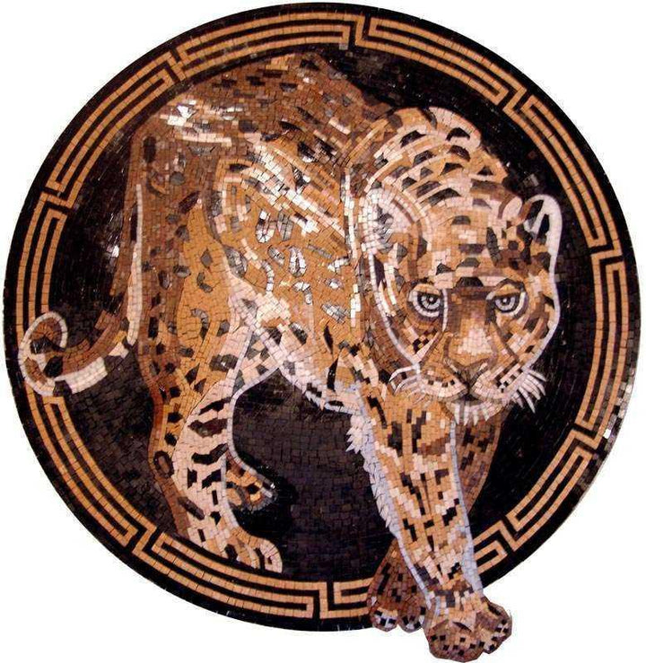Mosaic Art Medallion - Gazing Leopard