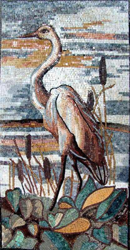 Mosaic Design - Heron on a Lake