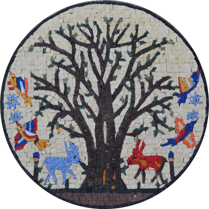 Mosaic Medallion -  Forest Animals