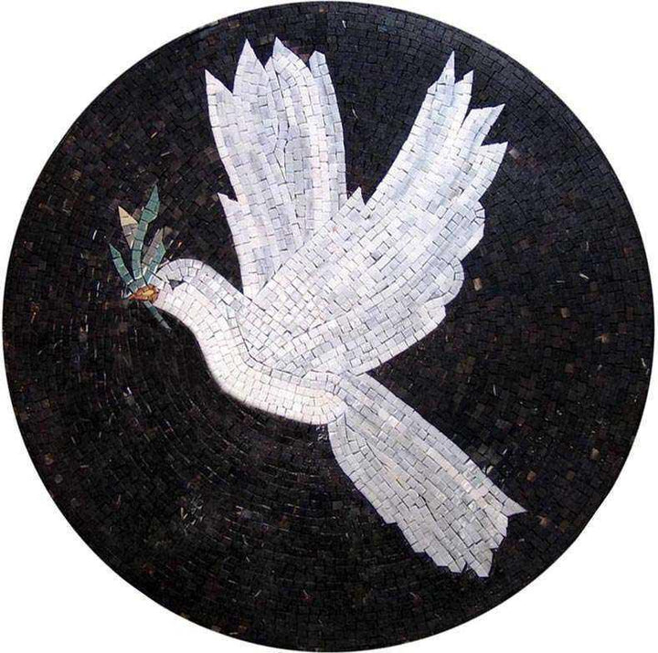 Mosaic Medallion Art - White Dove