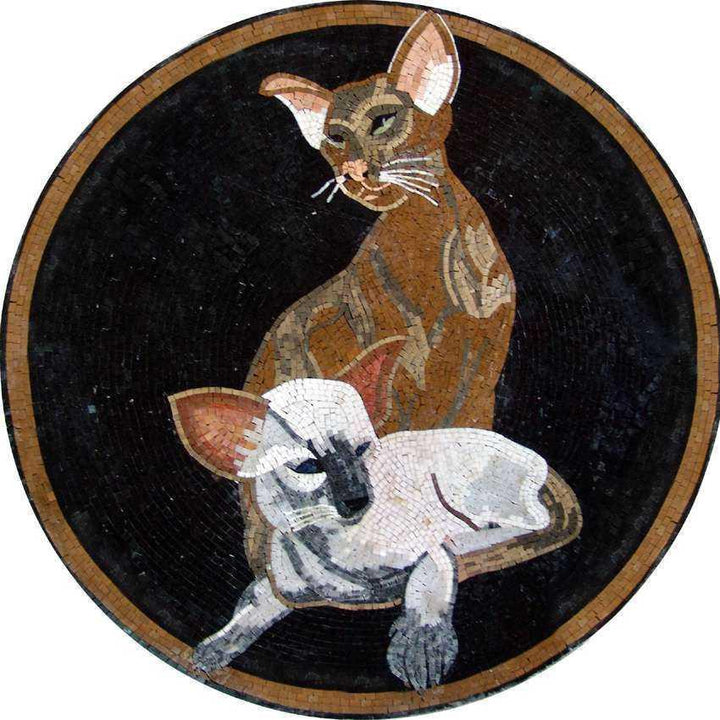 Mosaic Medallion Art - Two Cats