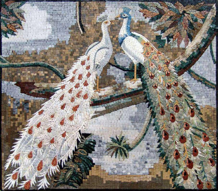 Mosaic Artwork - Peafowls in Love