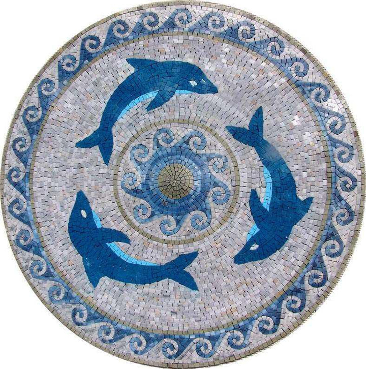 Dolphins  Medallion Mosaic Marble Art