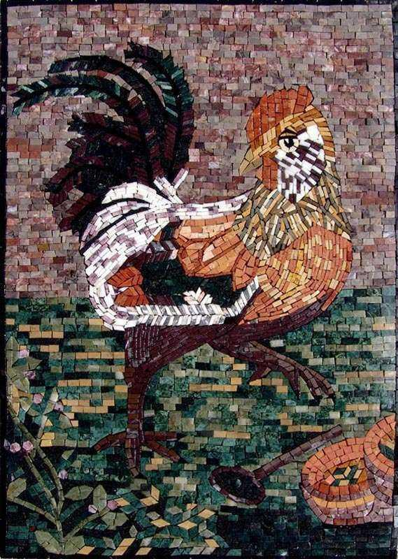 Marble Mosaic Art - Rooster