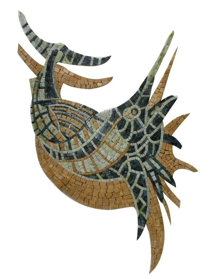 A Sword Fish With Shadow Nautical Marble Mosaic
