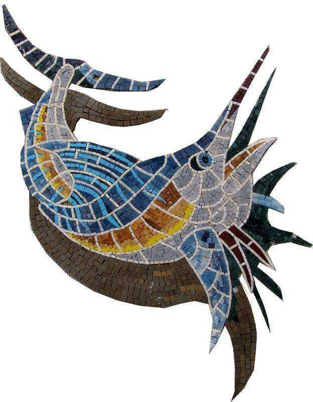 A Sword Fish And Its Shadow Nautical Mosaic