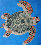 Swiming Turtle With Shadow On Blue - Mosaic Art