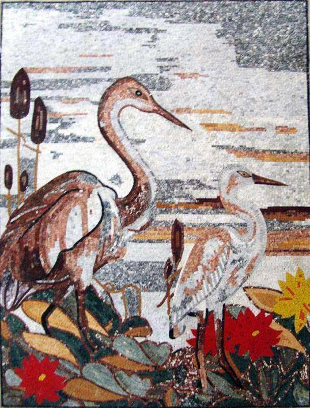 Romantic Mosaic Art - Herons