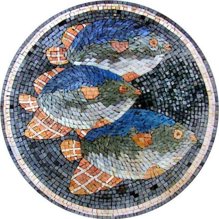 Three Fish Medallion Mosaic
