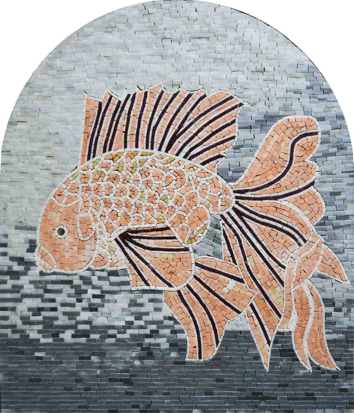 Tropical Fish Mosaic Marble Pool Tiles