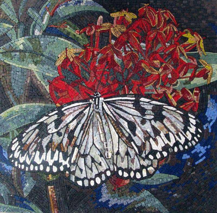 Mosaic Wall Art - Butterfly Flower
