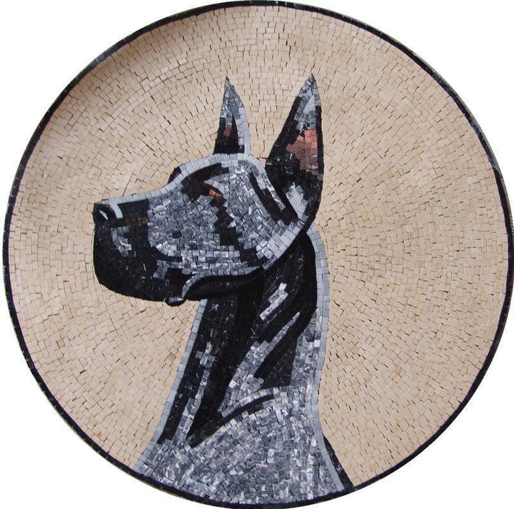 Marble Mosaic Medallion - Dog