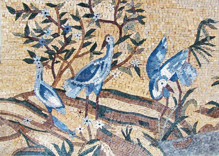 Mosaic Wall Art - Three blue Birds