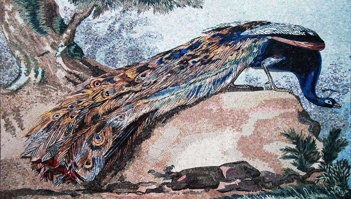 Mosaic Art - Peacock on a rock