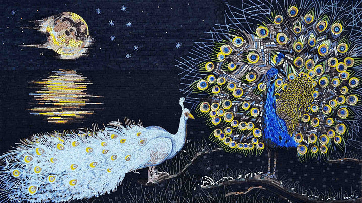 Mosaic Artwork - Peacocks and the Moonlight