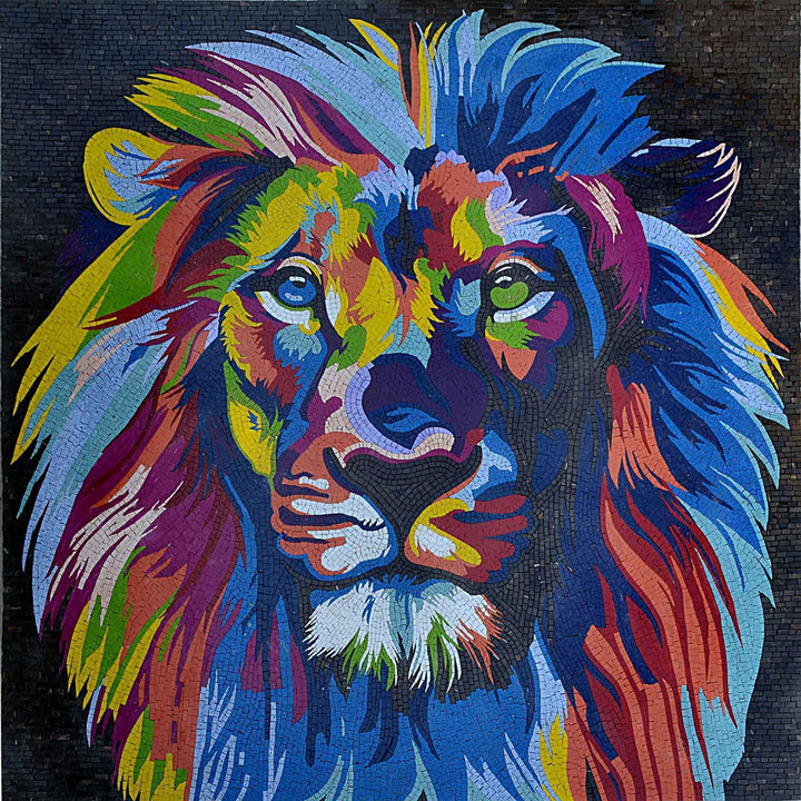 Modern Mosaic Art - Colorful Lion Head