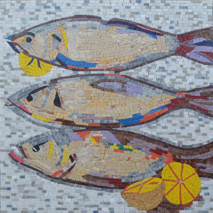 Nautical Mosaic Art - Lemons and Fish