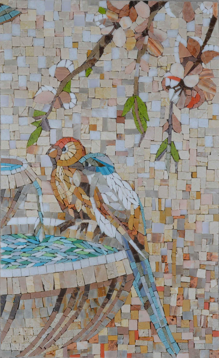 Birds by the Fountain - Mosaic Art
