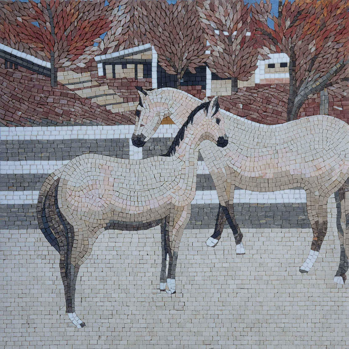 Horses in the Stable - Mosaic Artwork