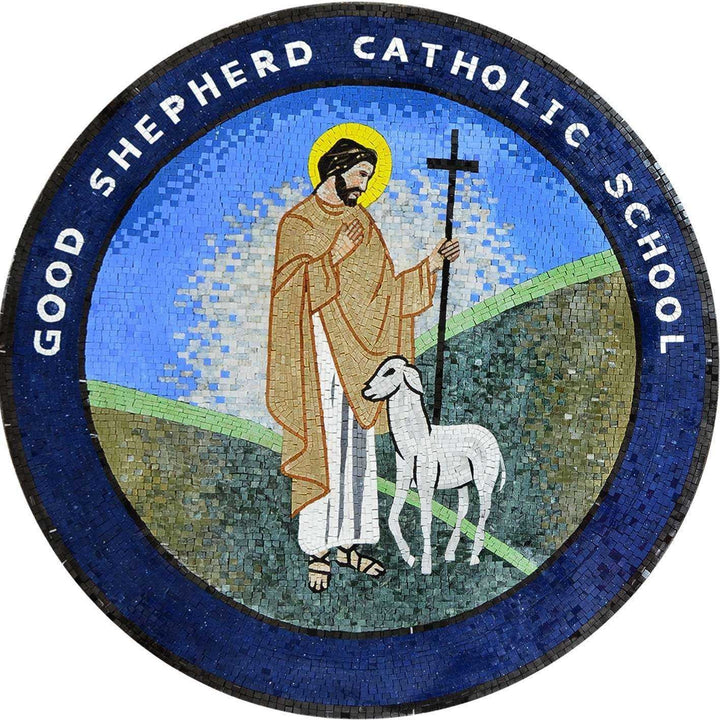 Custom Medallion Mosaic of a Catholic School Sign
