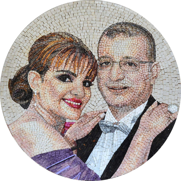 Couple Portrait Custom Marble Mosaic Medallion