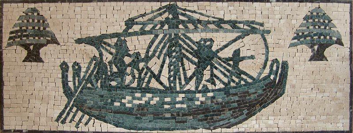 Phoenician Ship Customized Logo Mosaic