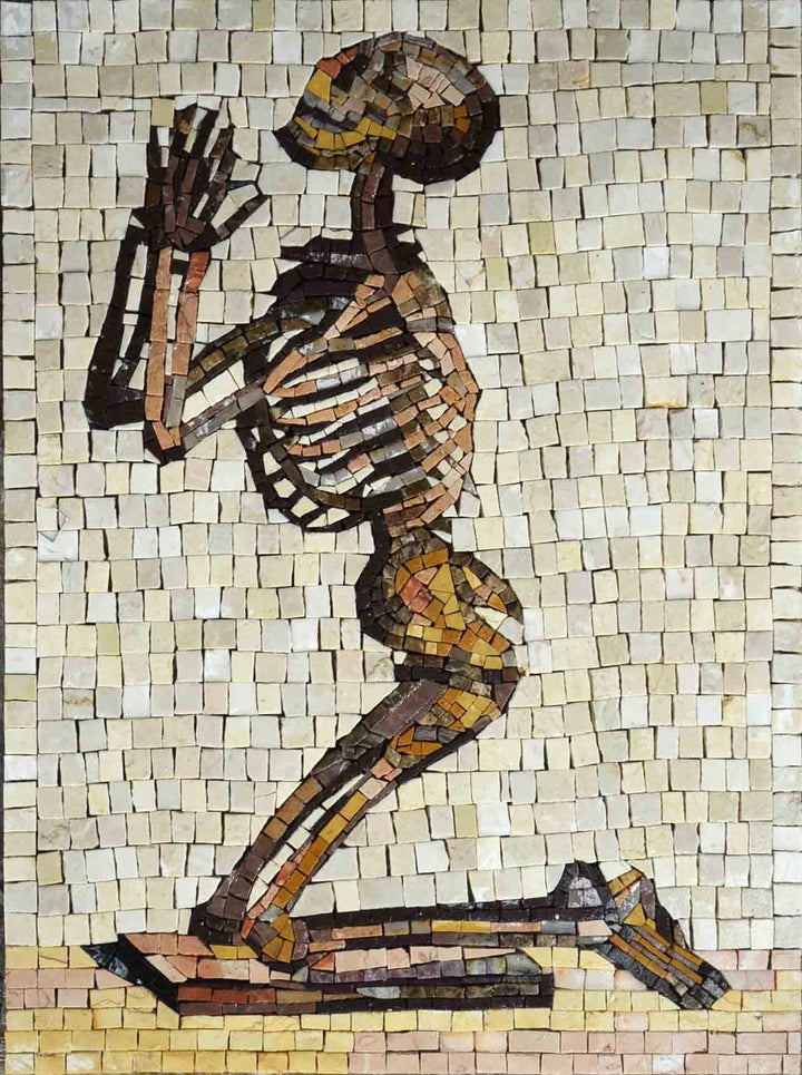 Skeleton praying marble mosaic