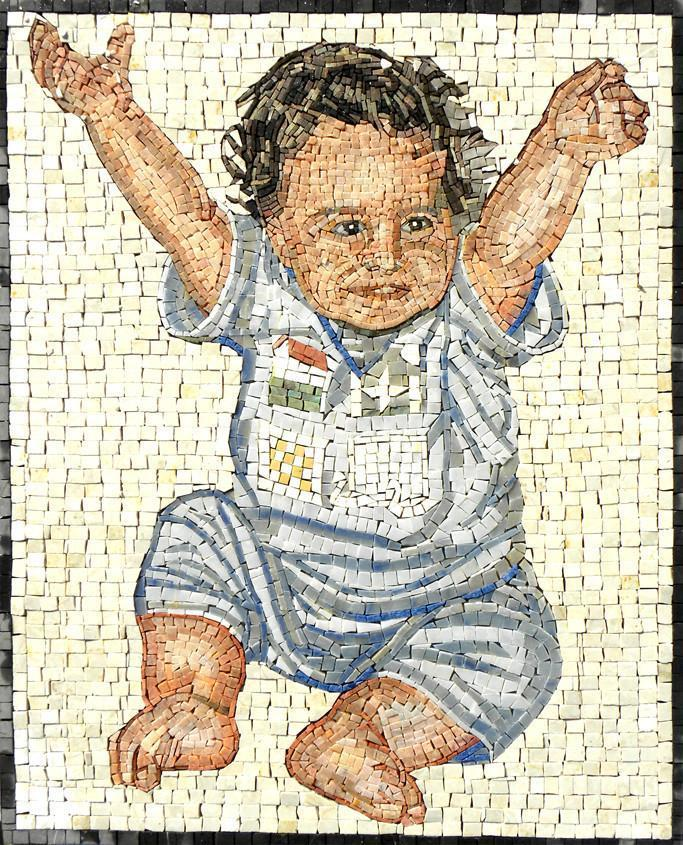 Baby Portrait Custom Made Mosaic Marble