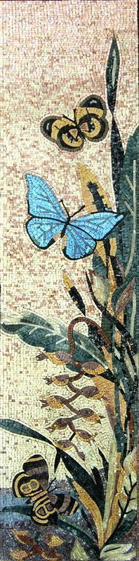 Flowers and Butterflies Mosaic Tile
