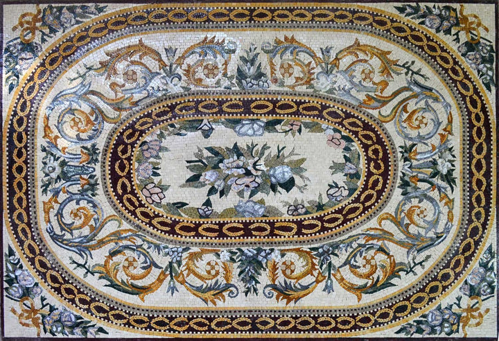 Flowers Marble Mosaic Rug Floor Tiles