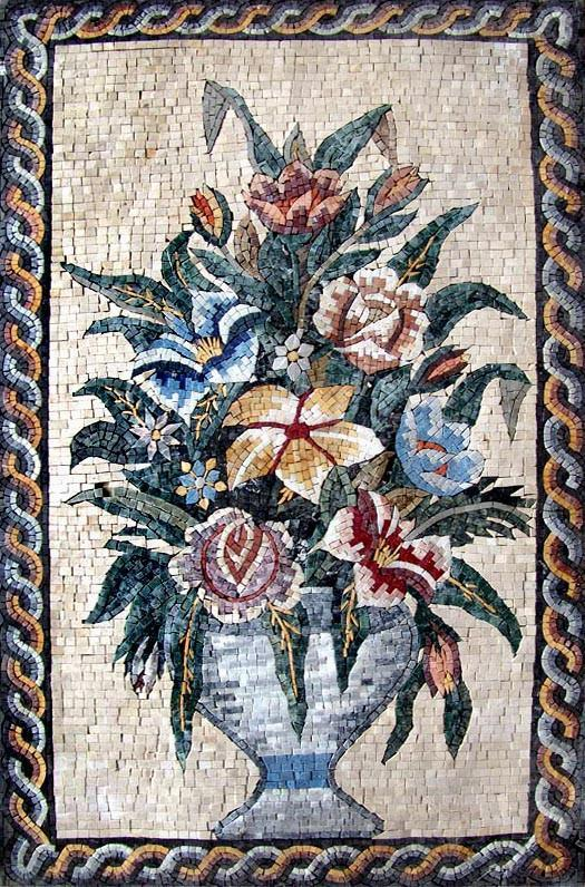 The Framed Floral Vase Mosaic-