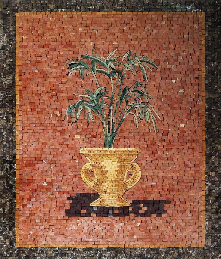 Mosaic Wall Art - Golden Pot