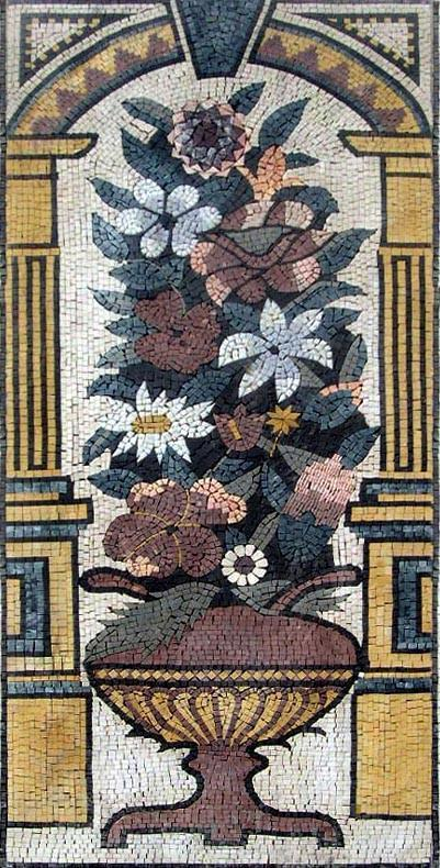 Jasmine and Daisies Rectangular Mosaic