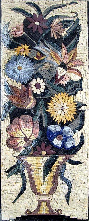 Yellow Dandelion and Gerber Flower Art Mosaic