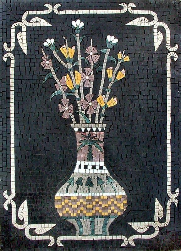 White Statice African Floral Artwork Mosaic