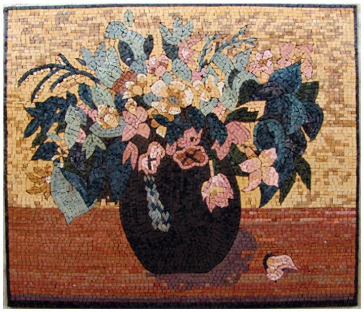 Mosaic Tile Art - Pink Carnations