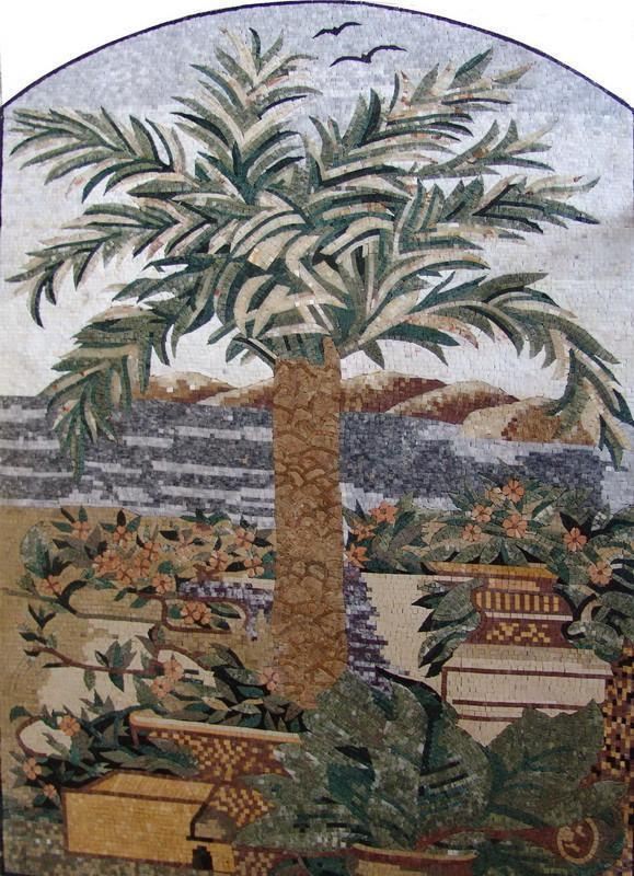 Arched Mosaic - Palm Tree