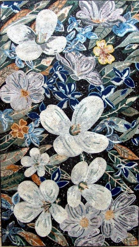 Mosaic Art For Sale - White Poppy