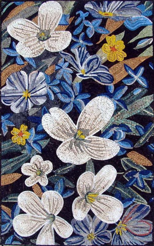 Mosaic Tile Art - Backsplash Lillies