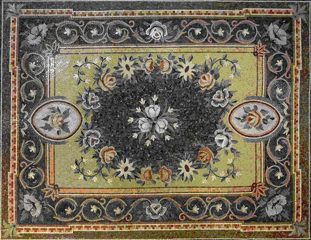 Flowers Stone Art Rugs Mosaic