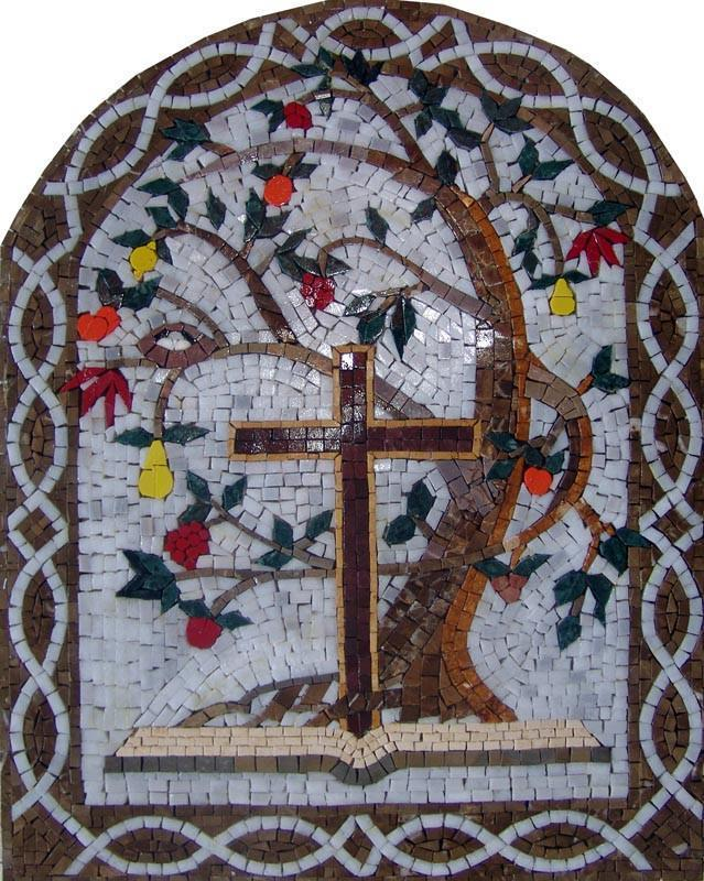 Arched Mosaic Holy Cross and tree of life