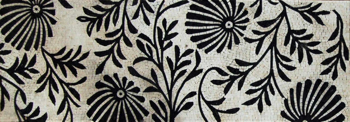 Black Floral Pattern -Mosaic Wallpaper