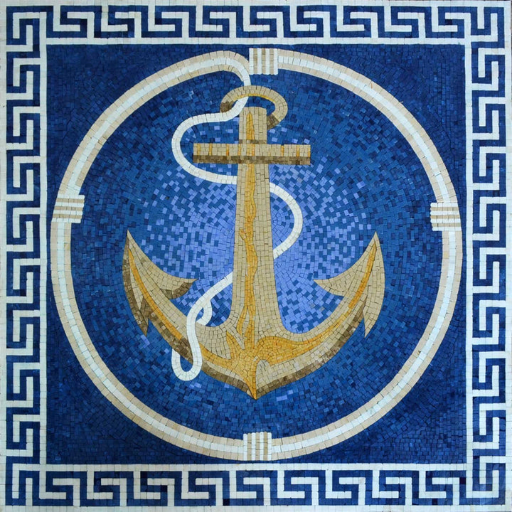 Bright Anchor on a blue background Marble Mosaic