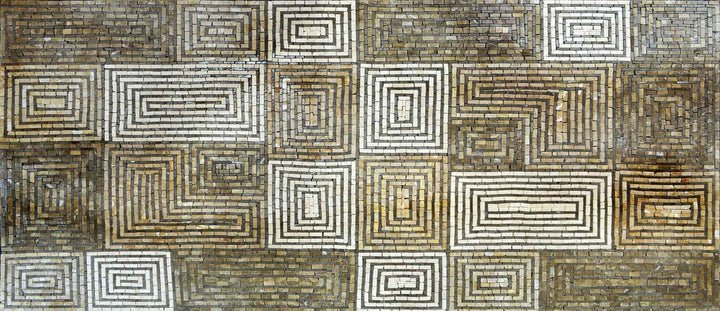 Rectangular Spiral Pattern-Geometric Mosaic